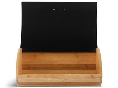 Chlebak drewniany Edenberg EB 139 pojemnik na pieczywo stalowa pokrywa w zestawie z pojemnikami