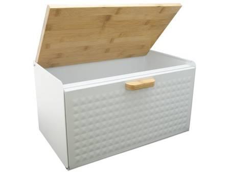 Chlebak metalowy z drewnianą deską Krisberg 7608 pojemnik na pieczywo biały