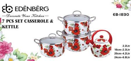 Garnki Edenberg EB 1830 zestaw garnków emaliowanych + czajnik