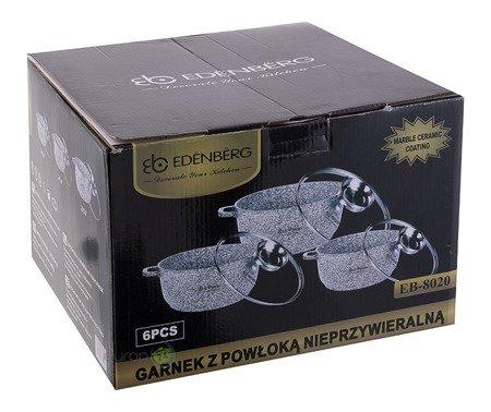 Garnki Edenberg EB 8020 Zestaw 3 garnków marmurowych INDUKCJA