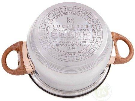 Garnki stalowe Edenberg 1143 Zestaw garnków z pokrywkami na indukcję