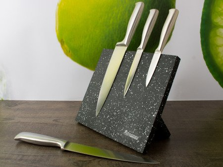 Magnetyczny stojak Rossner T 8095 na noże kuchenne Czarny marmur nakrapiany