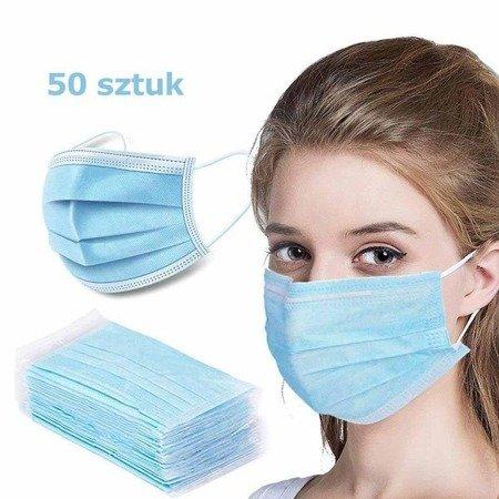 Maseczki ochronne jednorazowe 3-warstwowe higieniczne antywirusowe 50 szt
