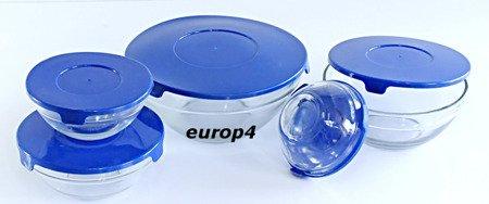 Miski E88 pojemniki szklane z pokrywkami 10 elementów niebieski