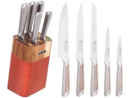 Noże Edenberg EB 924 kuchenne stalowe 5 szt w drewnianym stojaku