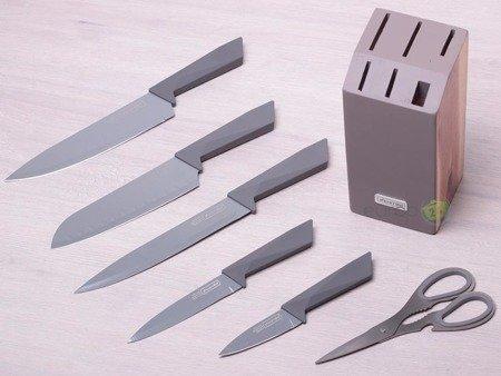 Noże Kamille KM 5044 kuchenne zestaw 7 noży stojak stal+ceramiczna powłoka