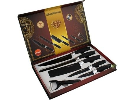 Noże kuchenne 6szt Messi Verona MV 9800 BLK stalowe ceramiczna powłoka