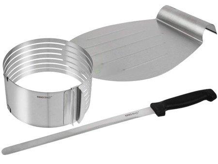 Obręcz regulowana Kinghoff KH 1269 do cięcia ciasta nóż taca zestaw
