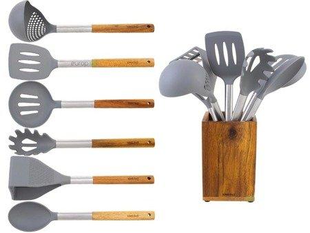 Przybory kuchenne KingHoff KH 1325 sztućce łyżki na wieszaku stojaku