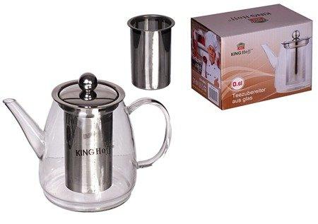 Szklany KingHoff KH 4842 zaparzacz do herbaty ziół kawy Dzbanek 600 ml