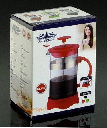 Szklany Peterrhoff PH 12531- 8 zaparzacz do herbaty ziół kawy dzbanek 800 ml czarny