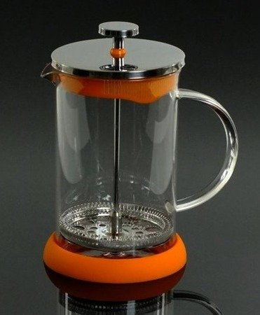 Szklany zaparzacz Hoffner HF 1128 do herbaty 600 ml ziół kawy dzbanek pomarańczowy