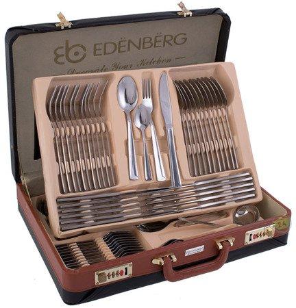 Sztućce Edenberg EB 5823 komplet złoty wzór zestaw widelece+łyżki+walizka