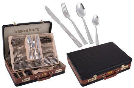 Sztućce KLAUSBERG KB 7254 srebrne połysk zestaw w walizce widelece+łyżki KB 7252 / 7253 / 7255