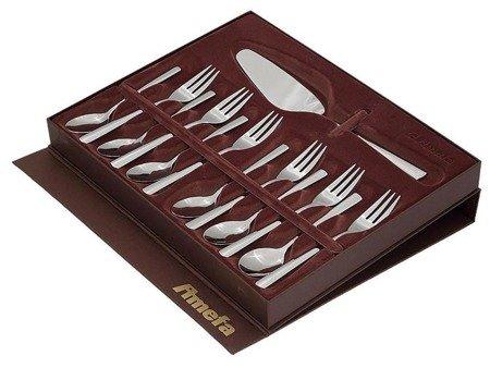 Sztućce deserowe Amefa Palmon 8410 do ciast w ozdobnym pudełku komplet 13 sztuk