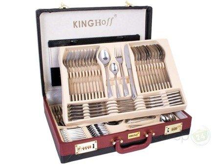 Sztućce w walizce KingHoff EH 3515 72 elementy 12 osób zestaw widelce+łyżki+walizka połysk