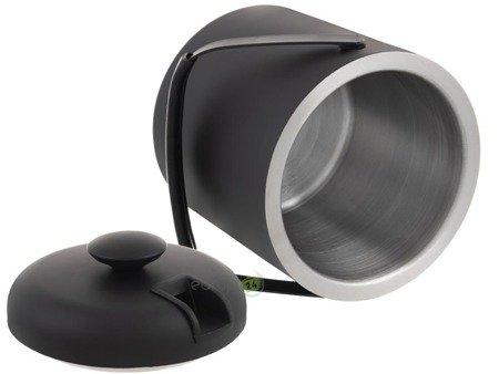 Wiaderko do lodu LUGO 1.3L pojemnik z pokrywką szczypce czarny