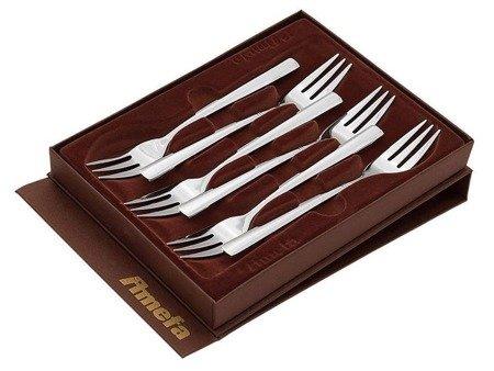 Widelczyki Amefa Palmon 8410 do ciasta w ozdobnym pudełku sztućce deserowe 6 sztuk w komplecie